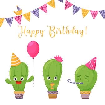 Открытка на день рождения. забавный мультяшный кактусы на белом фоне