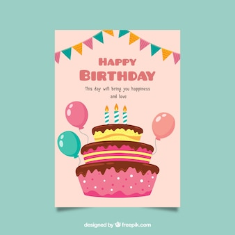 День рождения в плоском дизайне с тортом