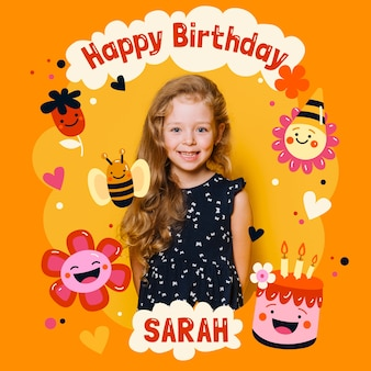 Birthday card invitation for childrens with photo template