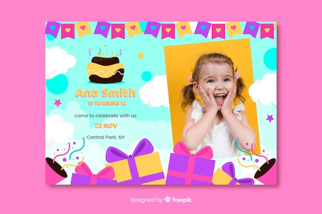 Birthday card invitation for girls template