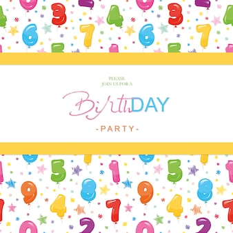 Birthday card for kids. included seamless pattern with glossy balloon numbers.