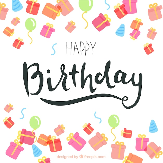 Birthday card in lettering style with colored gifts