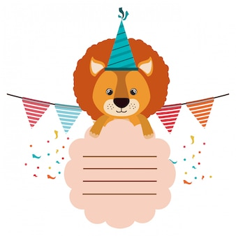 Birthday card and lion with hat party