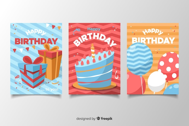 Birthday card pack in flat design