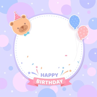 Birthday card party with teddy bear and frame