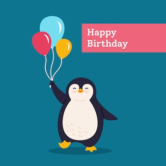 Birthday card penguin with balloon. holidays postcard cartoon flat greeting. funny happy abstract animal character. cute hand drawn penguin, surprise banner for kids. isolated illustration