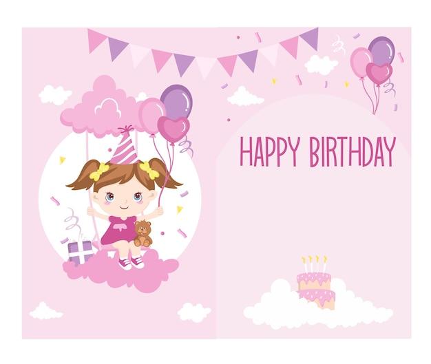 Birthday card pink little girl