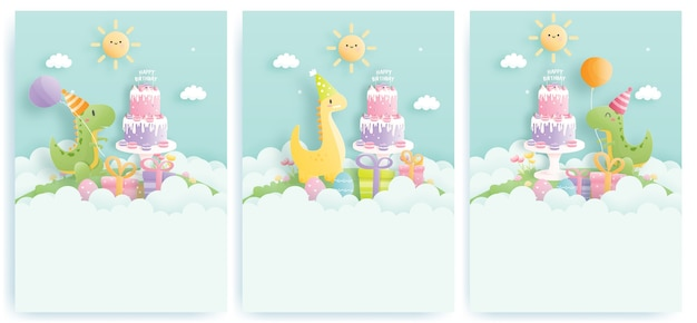 Birthday card set with cute dinosaurs and gift boxes, birthday cake
