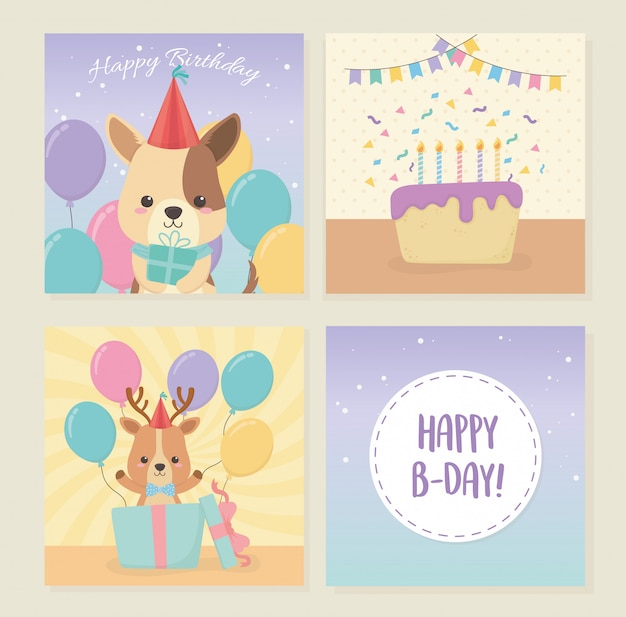 Birthday card set with little animals characters