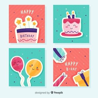 Набор поздравительных открыток Бесплатные векторы