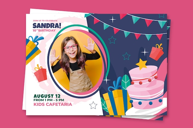 Birthday card template for children