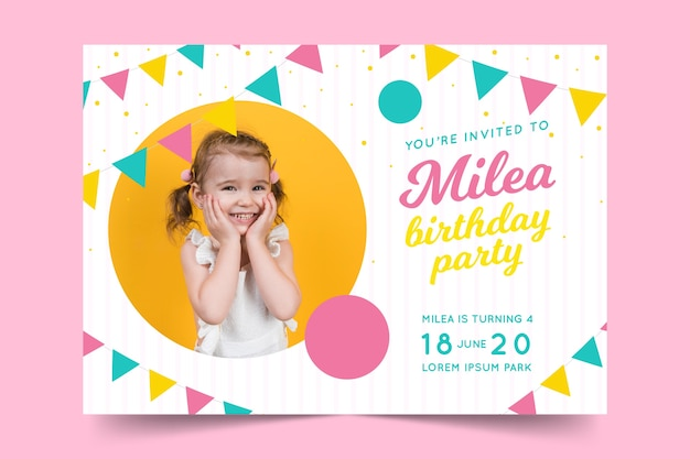 Birthday card template for childrens concept