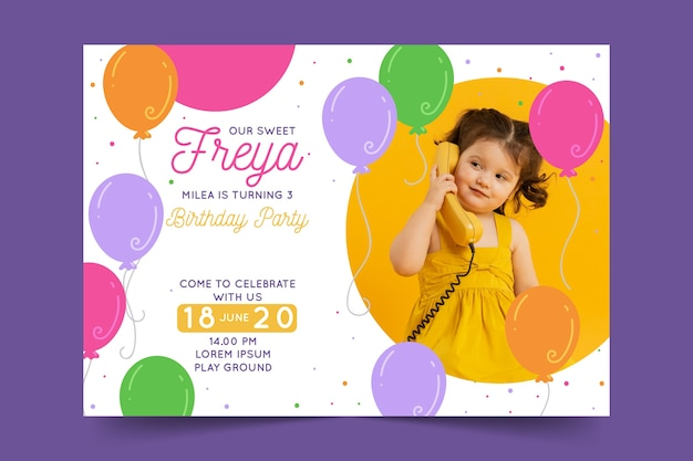 Birthday card template for childrens design