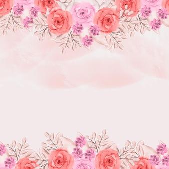 誕生日カードテンプレートグリーティング背景水彩花赤面ピンクのバラ花フレーム