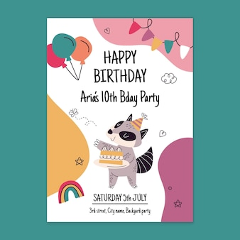 Birthday card template with animal