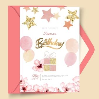 風船と誕生日カードテンプレート