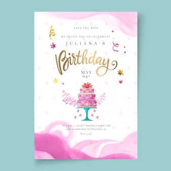 Birthday card template with cake
