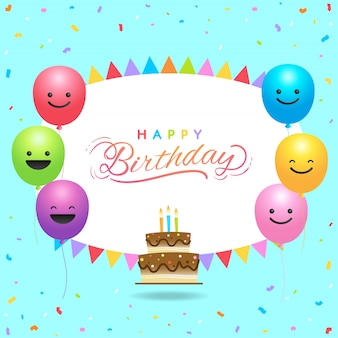 Birthday card template with colorful balloons and copy space