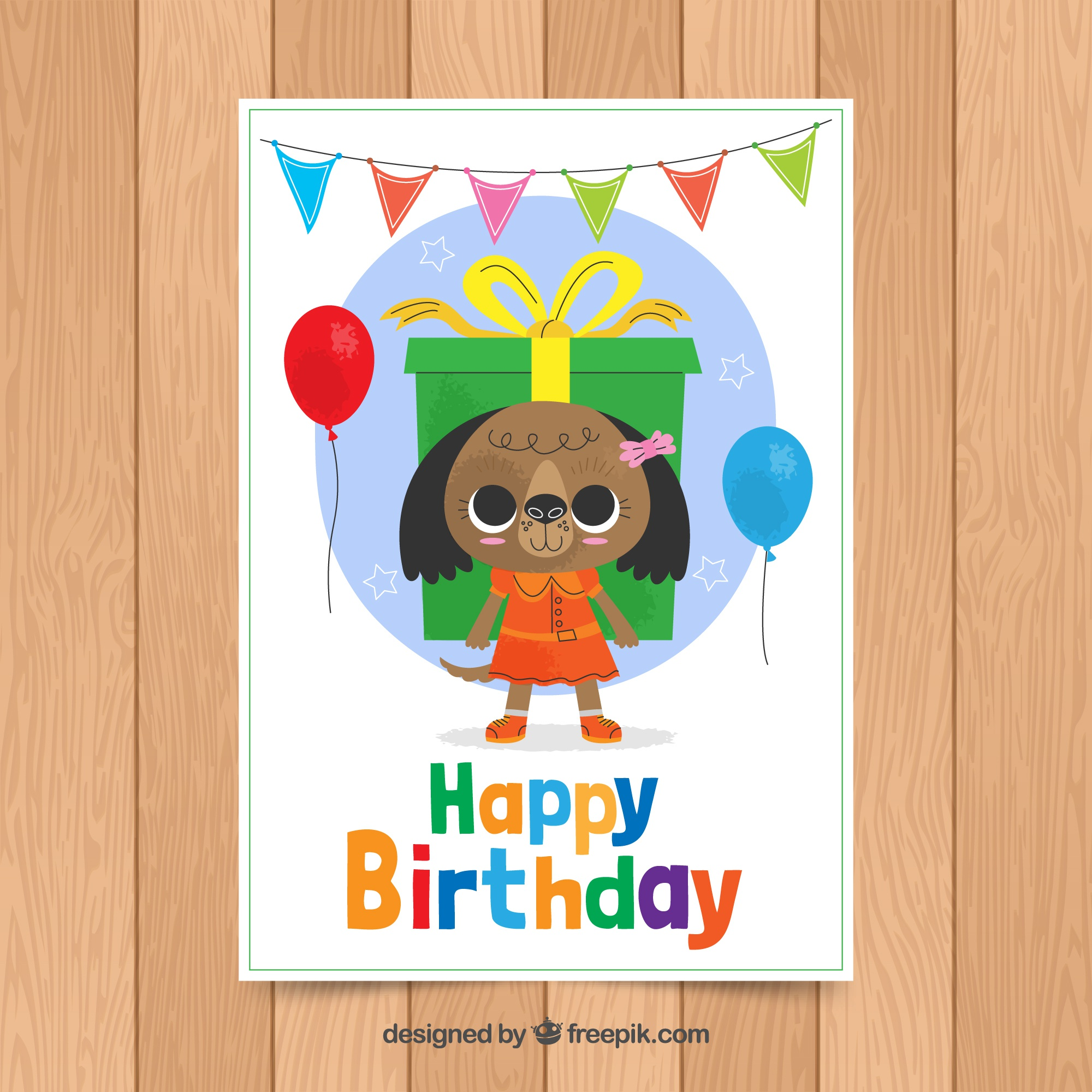Birthday card template with cute bear
