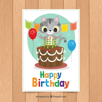 Birthday card template with cute cat