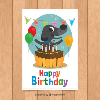 Birthday card template with cute dog