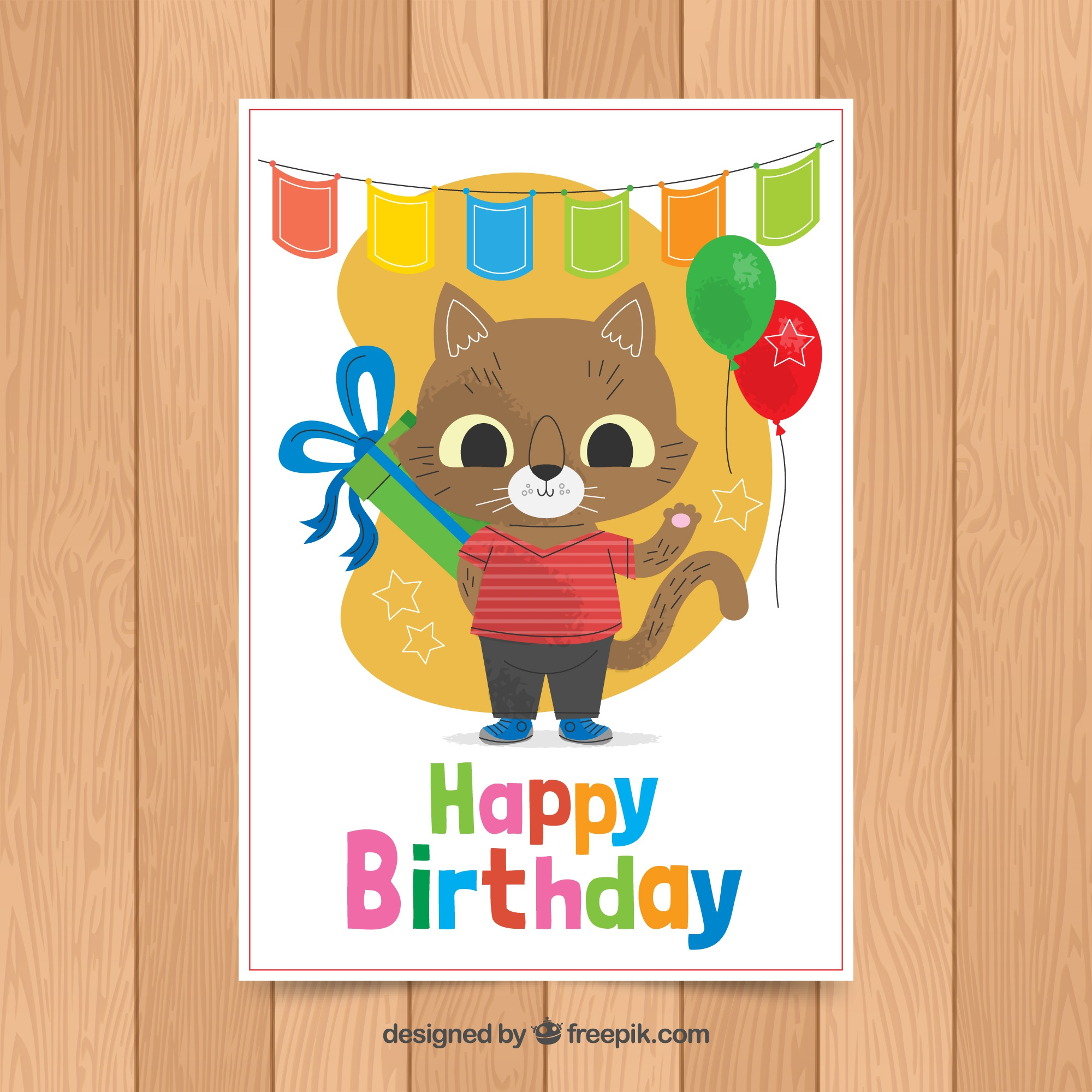 Birthday card template with cute fox