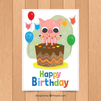 Birthday card template with cute pig