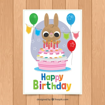 Birthday card template with cute rabbit
