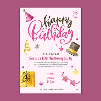 Birthday card template with drawn elements