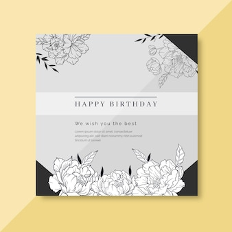 Birthday card template with floral ornaments