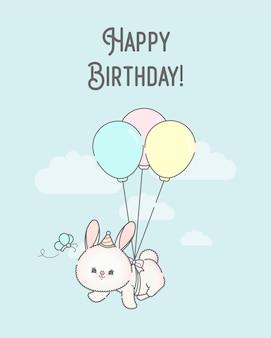 Шаблон поздравительной открытки с летающим кроликом премиум