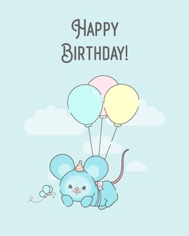 Birthday card template with flying bunny premium