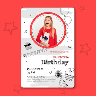 Birthday card template with photo