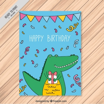 Birthday card with a smiling crocodile