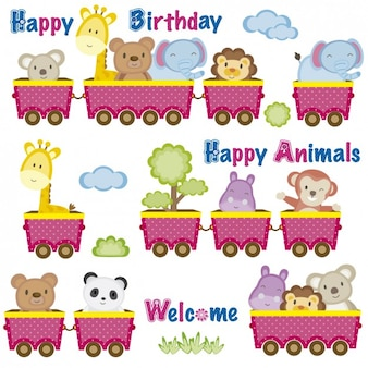 Birthday card with animals in wagons