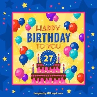 風船と星と誕生日カード