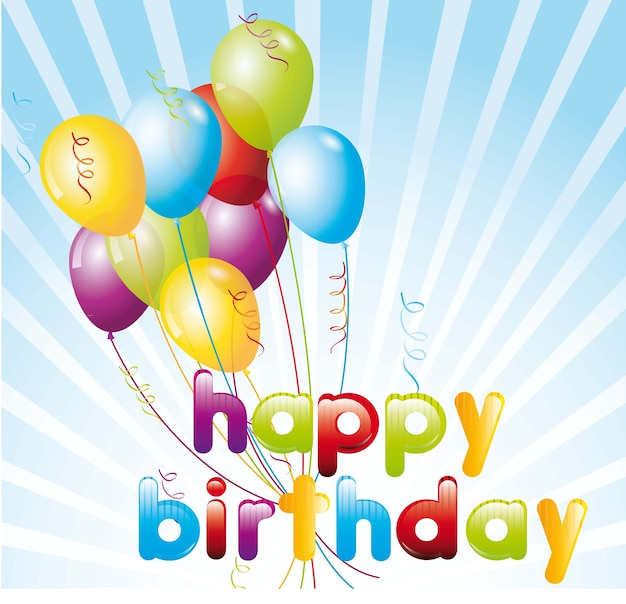 Birthday card with balloons over blue background vector illustration