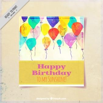 Scheda di compleanno con palloncini dipinto con acquerelli