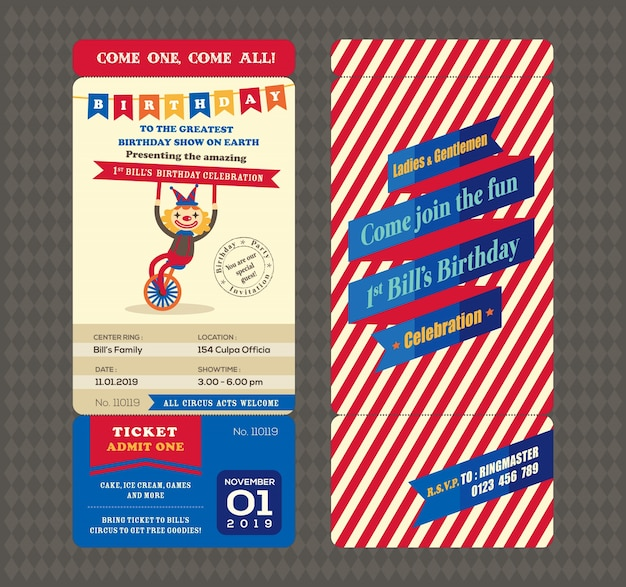 Birthday card with boarding pass style template Free Vector