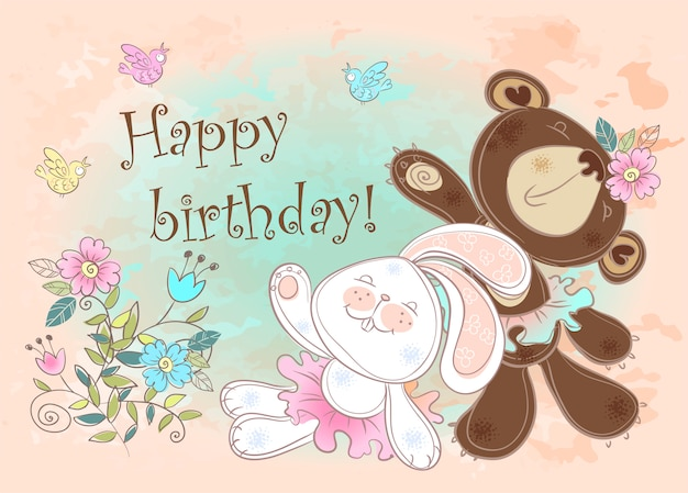 Birthday card with a bunny and a bear.