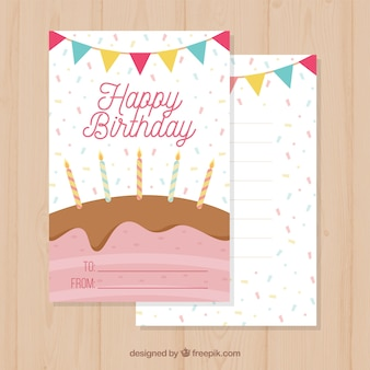 Birthday card with cake and candles