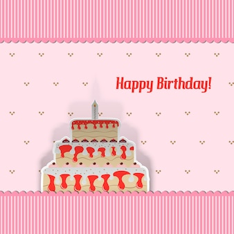 Birthday card with cake, cut from paper