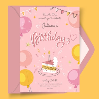 Birthday card with cake template