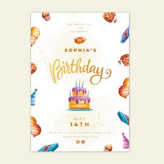 Carta di compleanno con modello di torta