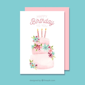 Birthday card with cake in watercolor style