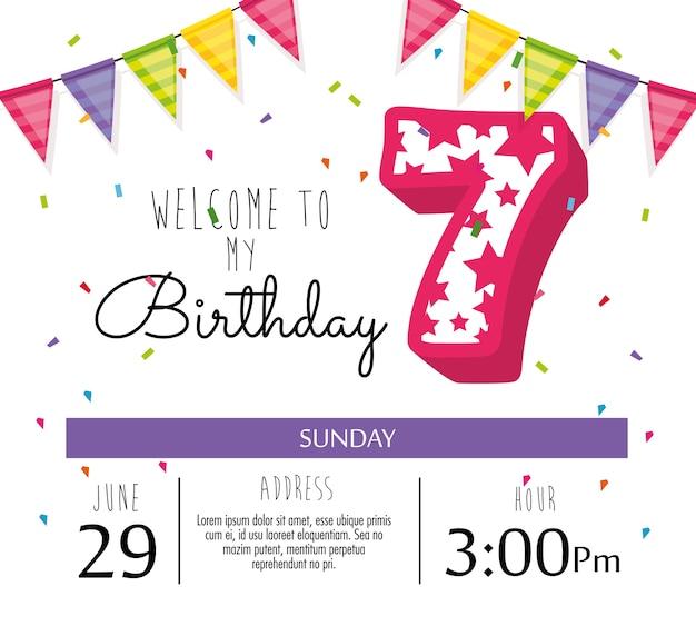 촛불 번호 7 생일 축 하 카드