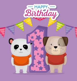 Birthday card with candle number vector illustration design