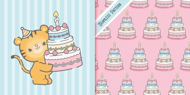 Birthday card with cartoon tiger and seamless pattern premium Premium Vector