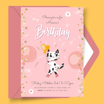 Birthday card with cat template