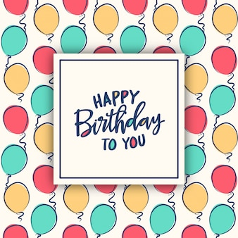 Birthday card  with colorful balloons pattern Premium Vector
